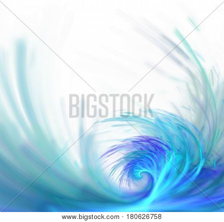 White abstract background with fractal texture. Turquoise big wave on the sea surface. Blue water splatter and water drops in the air.