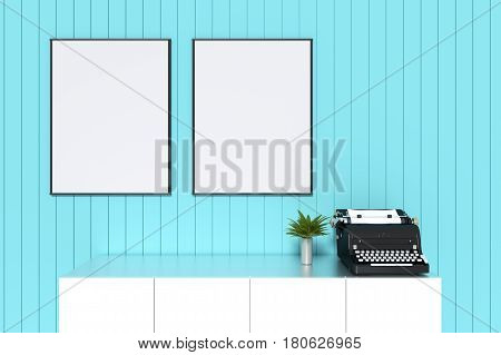 3d rendering : illustration of white mock up frame. hipster background. mock up white poster or picture frame. living room interior.white shelf and typewriter with frame. clipping path included