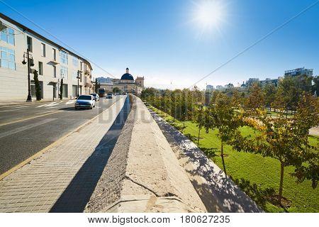 Valencia Trinidad street with Turia park view in Spain Trinitat