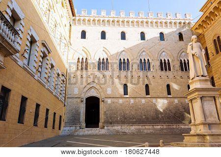Siena Landmark. Monte Dei Paschi Di Siena Historical Seat