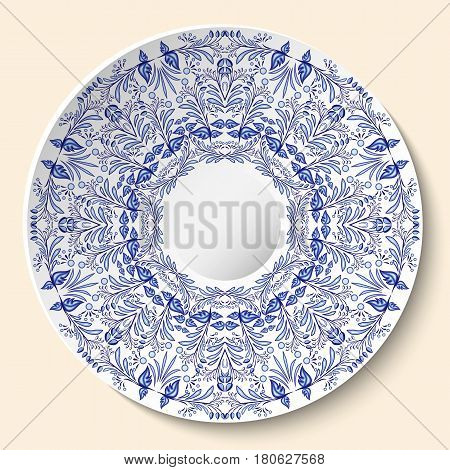 Round blue floral ornament. Styling based on Chinese or Russian porcelain painting. Pattern is applied to ceramic decorative plate. Vector illustration