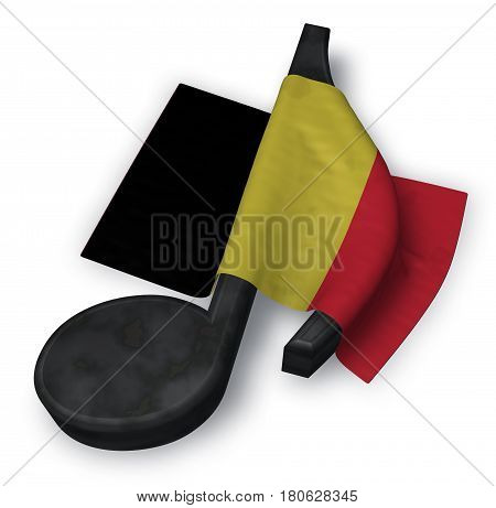 music note and flag of belgium - 3d rendering