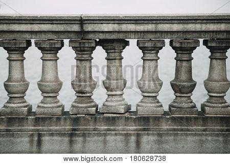 old stone balustrade of railing. architecture detail-stone balustrade