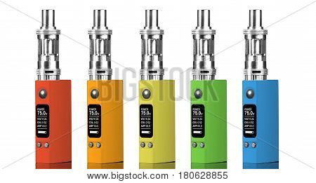 Five multicolored electronic cigarettes - isolated on white background.