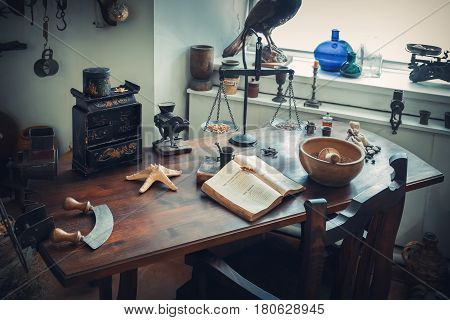 Grodno, Belarus - April 5, 2017: Apothecary Table With Drugs And Vintage Equipment In The Pharmacy M