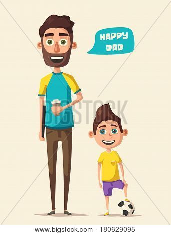 Dad and kid character. Cartoon vector illustration. Happy father, friendly child. Positive emotions. Beautiful family. Daddy and son