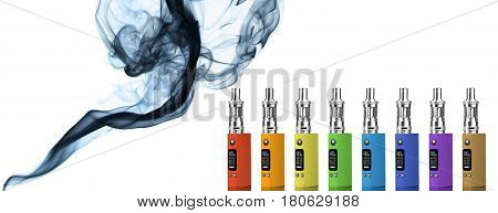 Eight multicolored electronic cigarettes and smoke - isolated on white background.