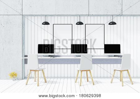 3D Rendering : illustration of PC computer desktop mock up front of white wooden tile wall on white table in bright room or internet coffee cafe. minimal interior mock up. filtered image to comic halftone