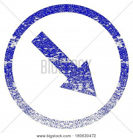 Down-Right Rounded Arrow grunge textured icon. Flat style with dust texture. Corroded vector blue rubber seal stamp style. Designed for overlay watermark stamp elements with grainy design.
