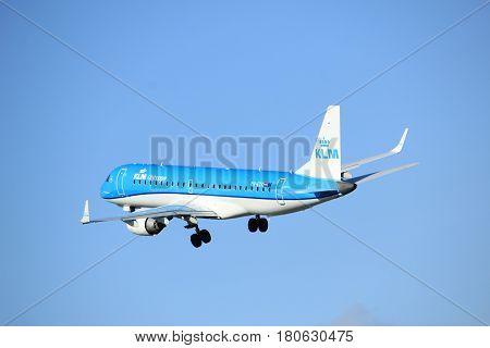 Amsterdam the Netherlands - April 7th 2017: PH-EZK KLM Cityhopper Embraer ERJ-190STD takeoff from Polderbaan runway Amsterdam Airport Schiphol