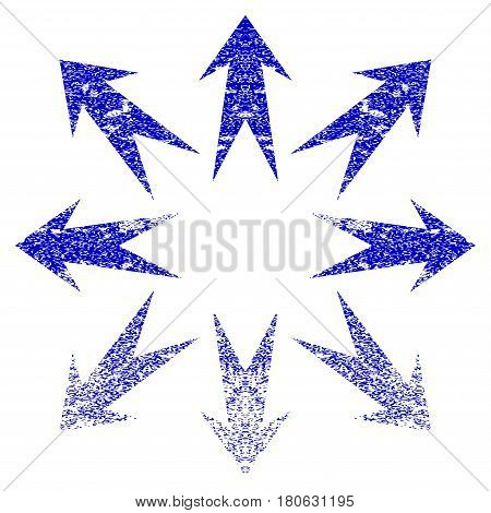 Expand Arrows grunge textured icon. Flat style with dust texture. Corroded vector blue rubber seal stamp style. Designed for overlay watermark stamp elements with grainy design.