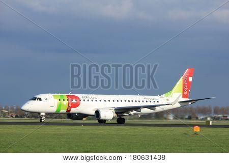 Amsterdam the Netherlands - April 7th 2017: CS-TPQ TAP Express Embraer ERJ-190 takeoff from Polderbaan runway Amsterdam Airport Schiphol