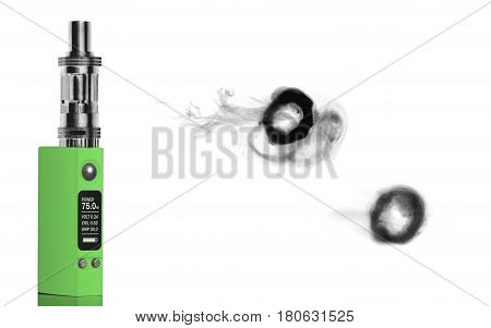 green electronic cigarette and smoke rings - isolated on white background.