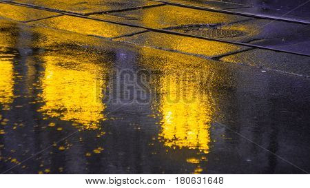 The bright lights of the evening city after rain, headlights from the approaching car. View from the pavement level