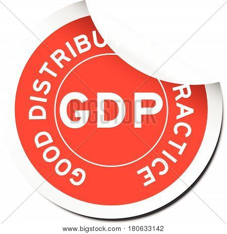Red GDP (Good distribution practice) sticker on white background