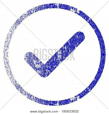 Ok grunge textured icon. Flat style with dust texture. Corroded vector blue rubber seal stamp style. Designed for overlay watermark stamp elements with grainy design.