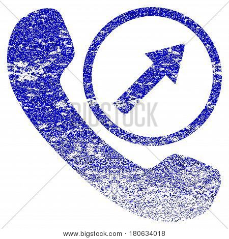 Outgoing Call grunge textured icon. Flat style with dust texture. Corroded vector blue rubber seal stamp style. Designed for overlay watermark stamp elements with grainy design.