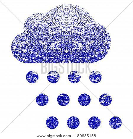 Rain Cloud grunge textured icon. Flat style with dirty texture. Corroded vector blue rubber seal stamp style. Designed for overlay watermark stamp elements with grainy design.