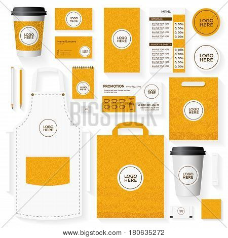 Corporate identity template set with place for logo and pattern for bread house, cupcake firm, food market, bakery shop, loaf store, cafe. Set of card, flyer, menu, package, uniform.
