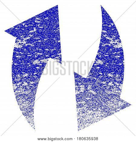 Refresh grunge textured icon. Flat style with dirty texture. Corroded vector blue rubber seal stamp style. Designed for overlay watermark stamp elements with grainy design.