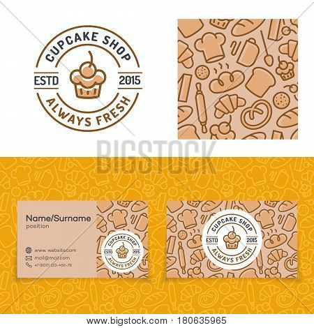 Cupcake shop set with baking pattern, card and logo consisting of cake, sign always fresh for identity bakery firm, cafe, loaf store, food market etc. Vector Illustration