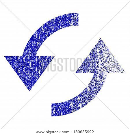 Refresh grunge textured icon. Flat style with dust texture. Corroded vector blue rubber seal stamp style. Designed for overlay watermark stamp elements with grainy design.