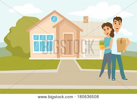 Couple standing outside new home. People moving house. Mortgage loading real estate property with loan. Buying or or rental room. Happy hugging man and woman