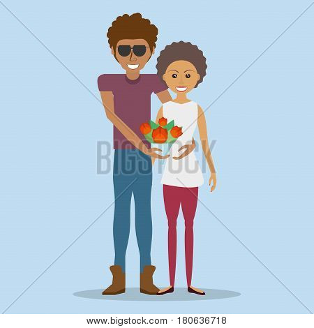 afroamerican couple lovely with flowers vector illustration eps 10