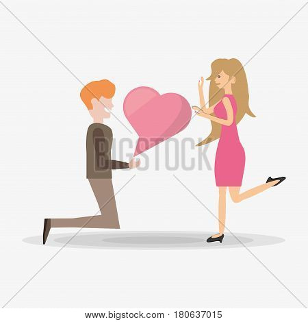 man proposal kneel woman bubble speech vector illustration