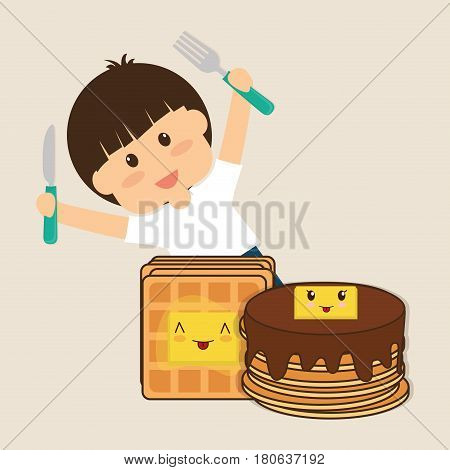 hapy boy holding fork and knife breakfast vector illustration eps 10