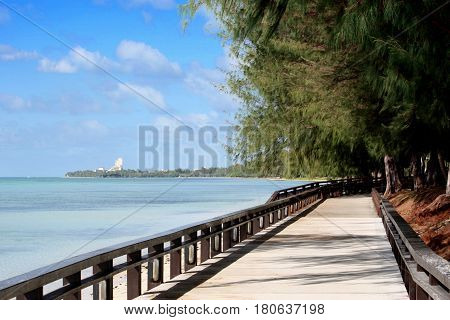 Walkway straight, Beach Road, Saipan The Beach Road walkway in Garapan is a favorite of many to walk, jog or run especially late in the afternoon or early morning.