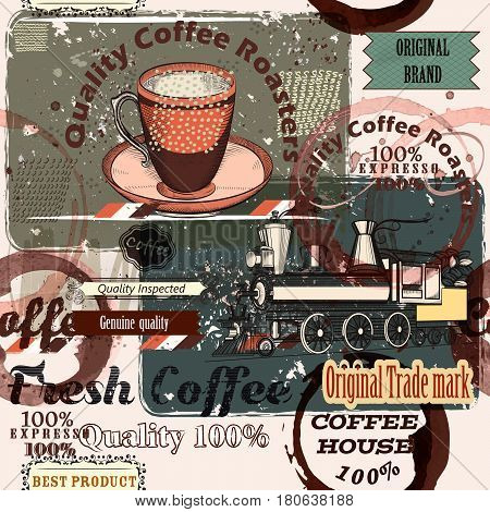 Coffee pattern in retro style with retro labels and spots for design