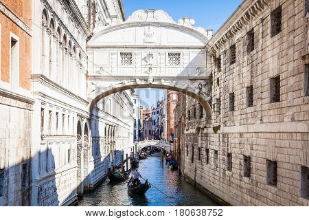 Venice, Italy - June 27, 2016: Bridge Of Sighs