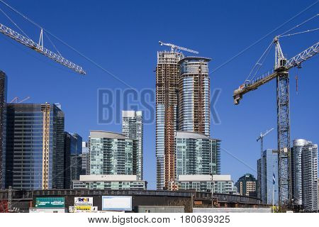 hi-rise buildings under construction in a big city