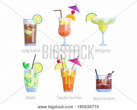 Set of alcoholic cocktails isolated fruit cold drinks tropical cosmopolitan freshness collection and party alcohol sweet tequila vector illustration. Juice with refreshment rum restaurant beverage.