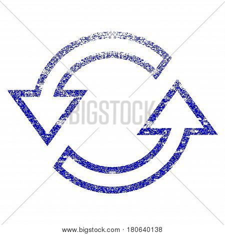 Sync Arrows grunge textured icon. Flat style with scratched texture. Corroded vector blue rubber seal stamp style. Designed for overlay watermark stamp elements with grainy design.