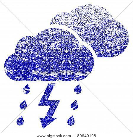 Thunderstorm Clouds grunge textured icon. Flat style with dirty texture. Corroded vector blue rubber seal stamp style. Designed for overlay watermark stamp elements with grainy design.