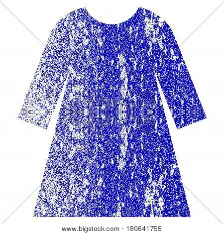 Woman Dress grunge textured icon. Flat style with dust texture. Corroded vector blue rubber seal stamp style. Designed for overlay watermark stamp elements with grainy design.