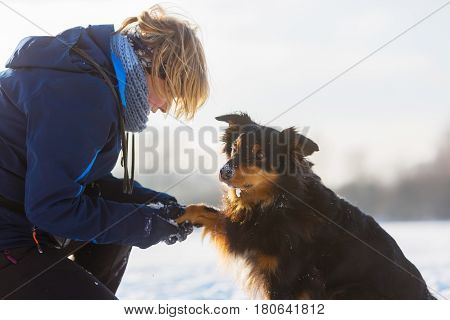 Woman Cares For Her Dog With Frozen Paw
