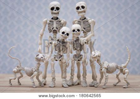 Skeleton family portrait with their skeleton pets