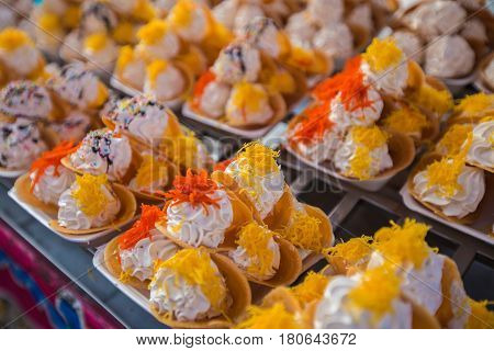 Thai Pastry Thai Traditional Snack and Dessert Thai Crispy Pancake or Thai Crepes Filled with Coconut Cream.