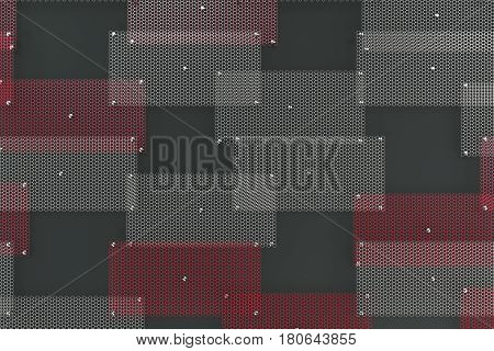 White And Red Circular Grates On Dark Grey Background