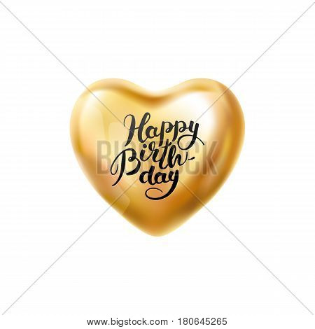 Happy birthday balloon. Heart Gold transparent balloon on background. Frosted party balloons for event design. Balloons isolated air. Birthday Party , anniversary, celebration. Shine transparent ball.