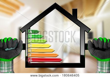 Energy Efficiency - Hands with work gloves holding a house model with energy efficiency rating. Home interior
