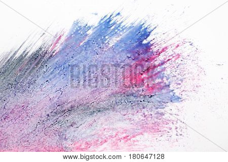 Creative modern art, abstract painting. Mix of red and blue colors, colorful explosion, splashing on white background.