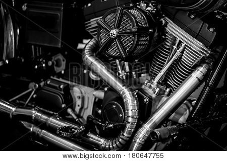 Motorcycle engine engine exhaust pipes art photography in black and white