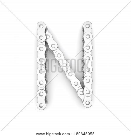 Alphabet made from Bicycle chain, letter N. 3D illustration