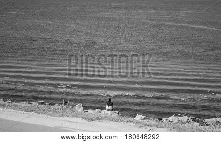 Silhouette of a lonely woman on the beach black and white