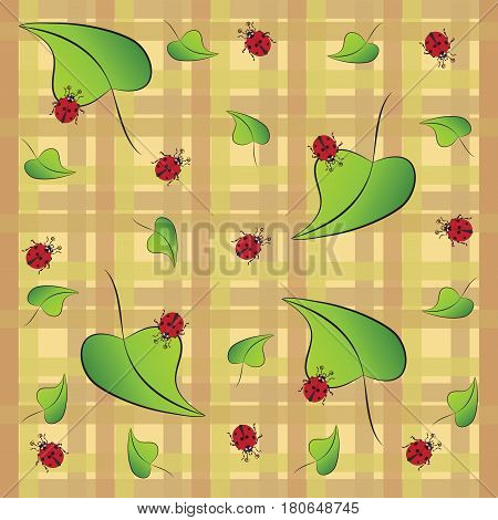Green leaves and ladybug. The pattern on a plaid background. Stylized images of ladybugs, for textiles, tapestries, packaging, environmental background of the poster.