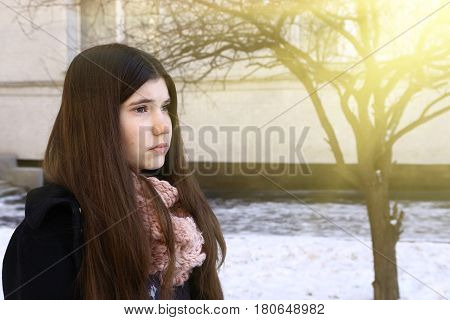Teenager Girl With Long Dark Hair Depressive Close Up Portrait